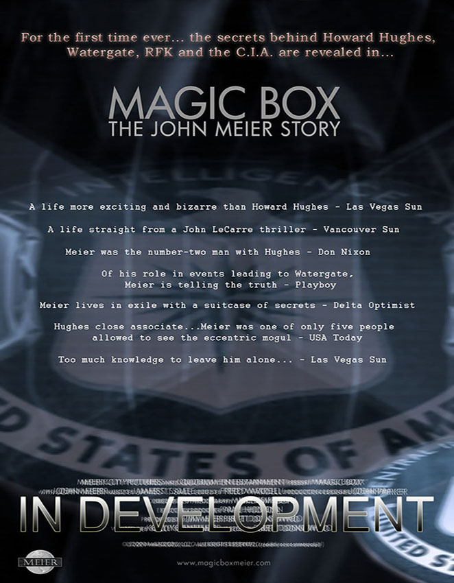 Magic Box Documentary Poster about the life story of John Meier involving Howard Hughes, Richard Nixon, Watergate and the CIA