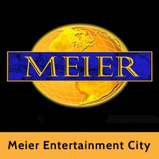 The Meier Entertainment City logo which is a gold earth globe with the Meier name in front of it
